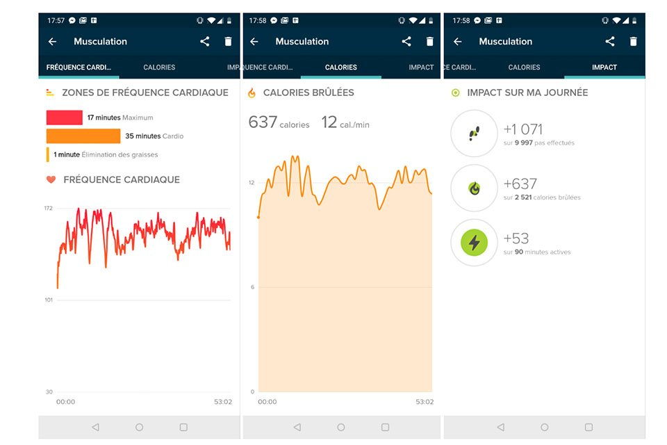 test fitbit charge 3 application musculation