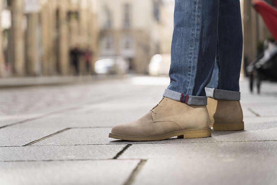 look entre deux veste focus chukka boots pied de biche