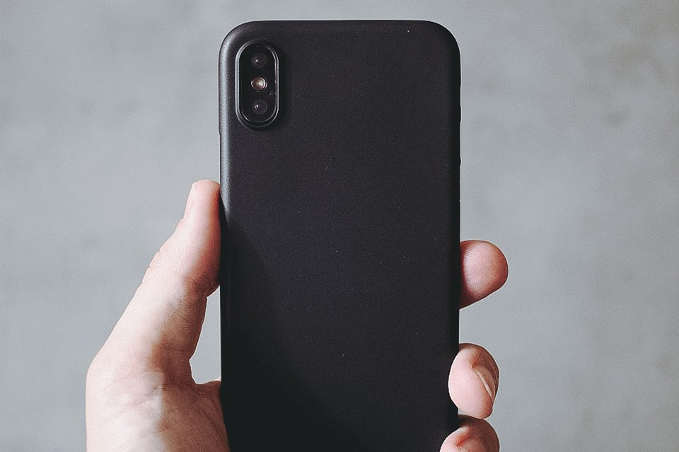 Ultra Thin iPhone X Case Black Matte Front Hand
