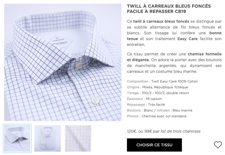 chemiseur surmesure gabarit chemise
