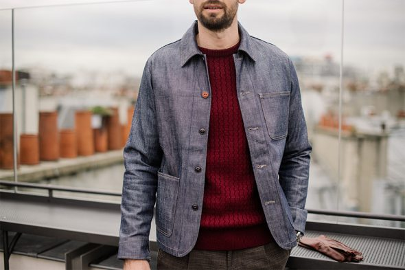 focus veste denim selvedge champ de manoeuvres look luca gallacio x max cuc