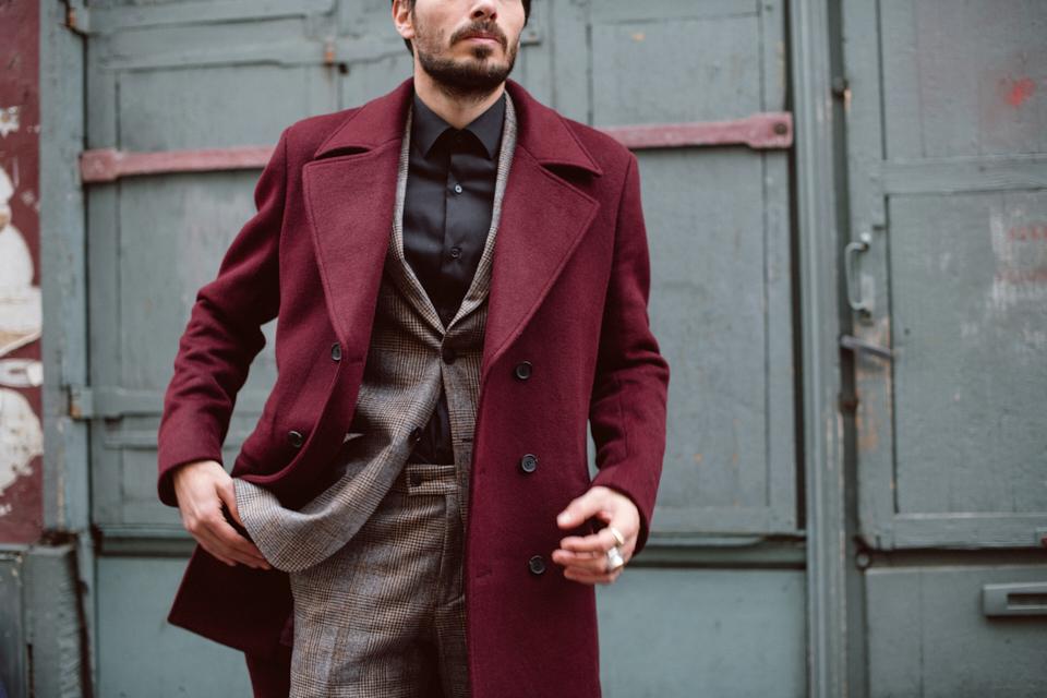 manteau homme couleur bordeaux