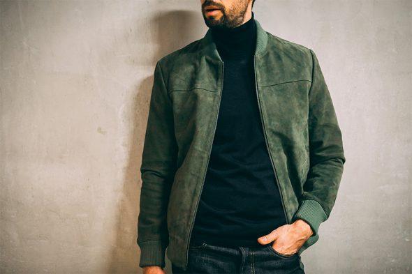 Look friday wear blouson cuir col roulé