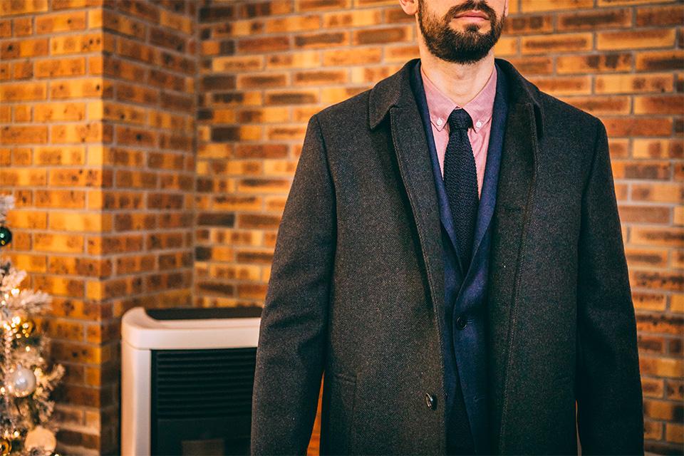 Look formel pardessus costume laine