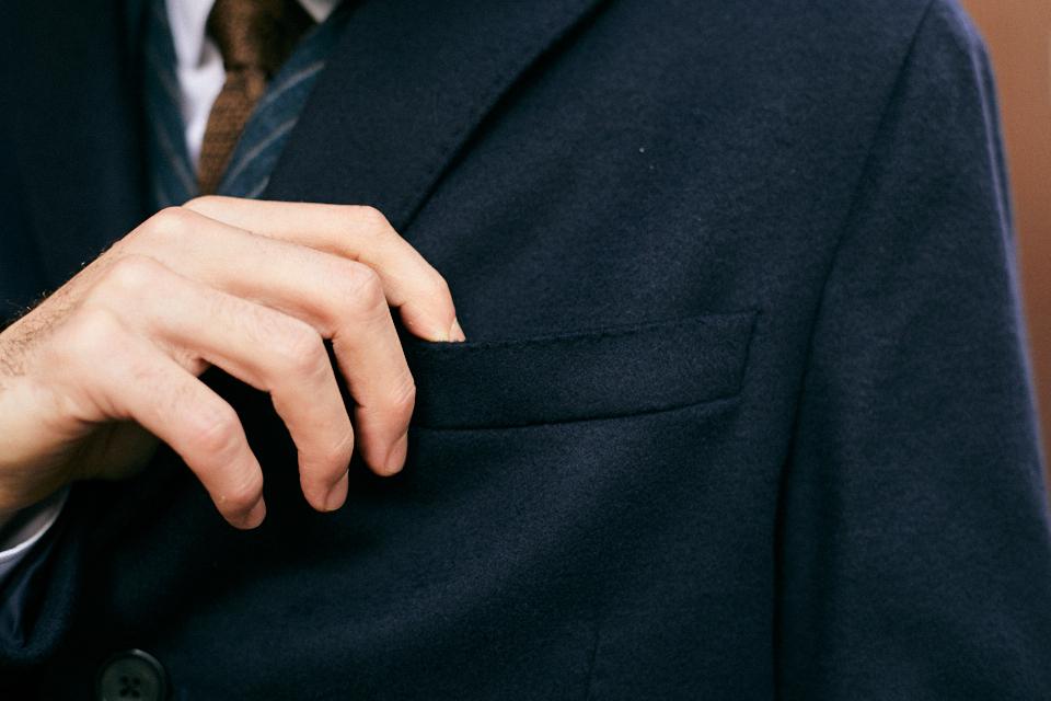 bexley manteau bleu marine surpiqure poche poitrine