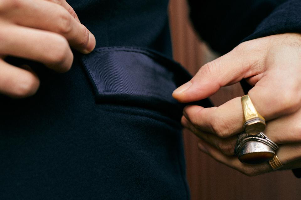 bexley manteau bleu marine poches passepoiléess