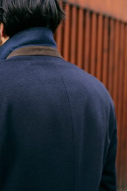 bexley manteau bleu marine dessous de col