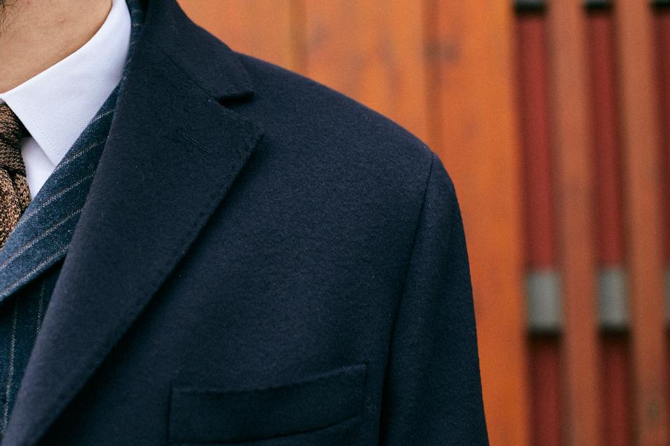 Bexley manteau honore bleu marine design epaule