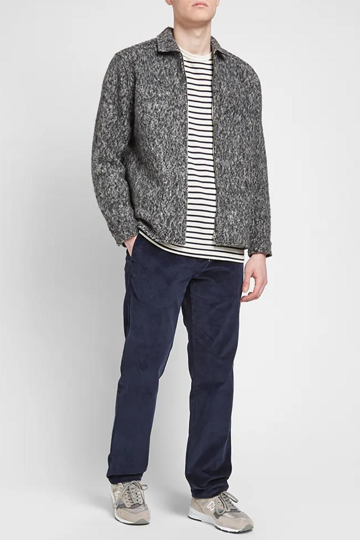 pantalon en velours bleu homme APC