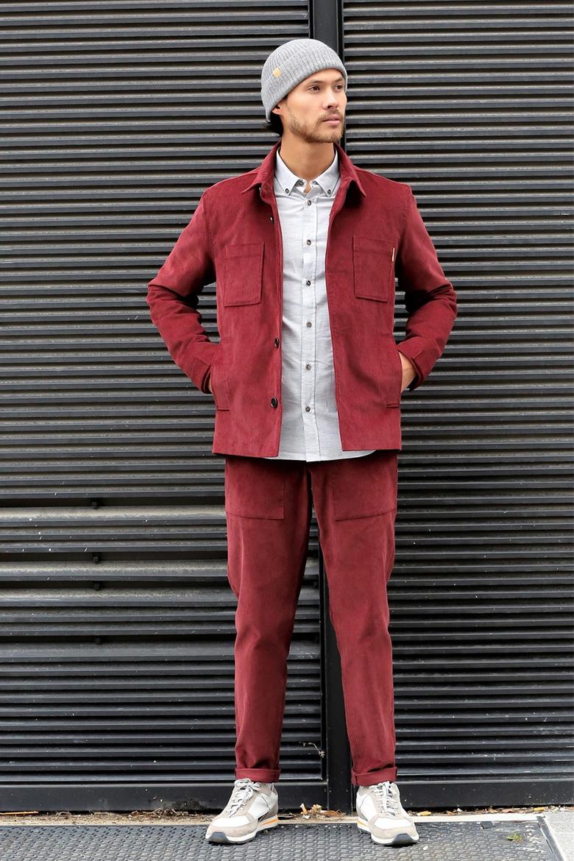 pantalon en velours homme bordeaux basus