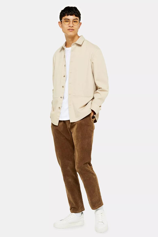 pantalon en velours marron homme topman