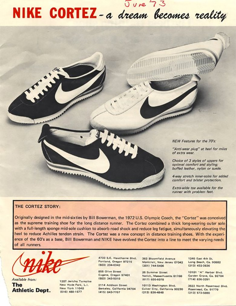 Nike cortez 1972 histoire