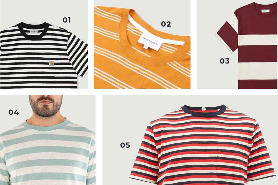 soldes ss20 t-shirts rayés homme
