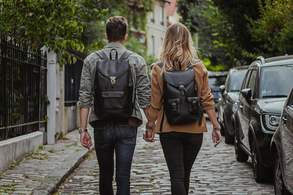 Pachamama sac à dos cuir noir duo