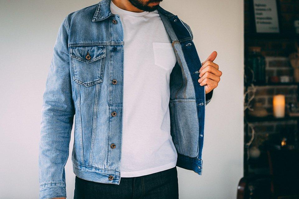 Veste en denim t-shirt blanc homme
