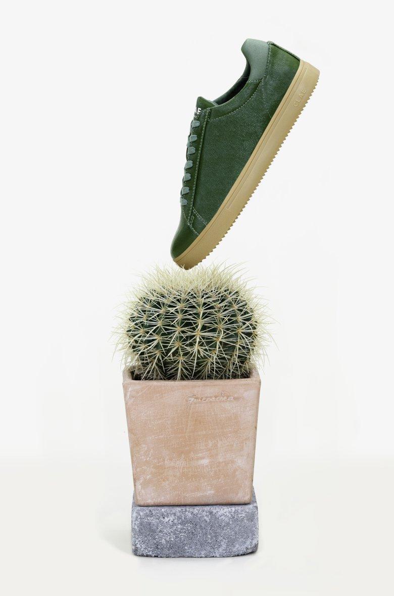 clae basket cuir cactus vert