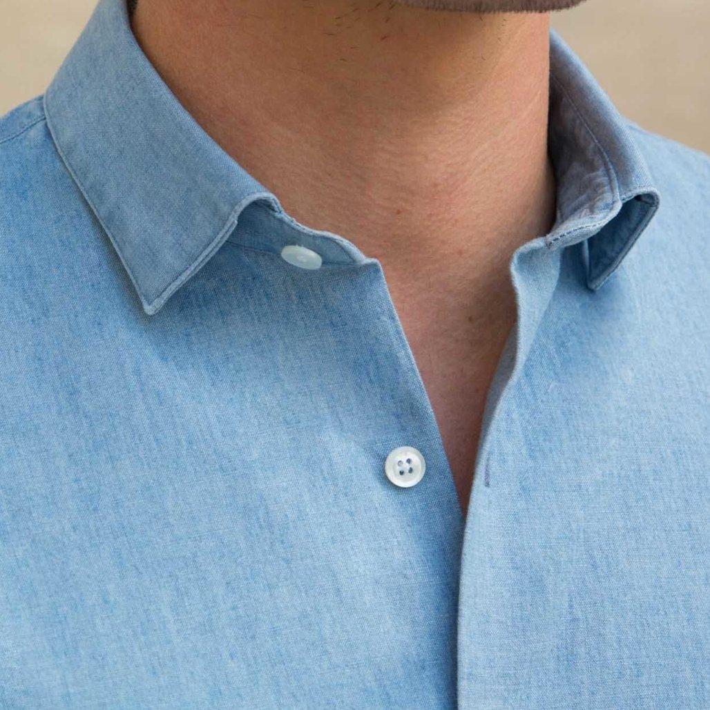 chemise première manche bleu chambray col