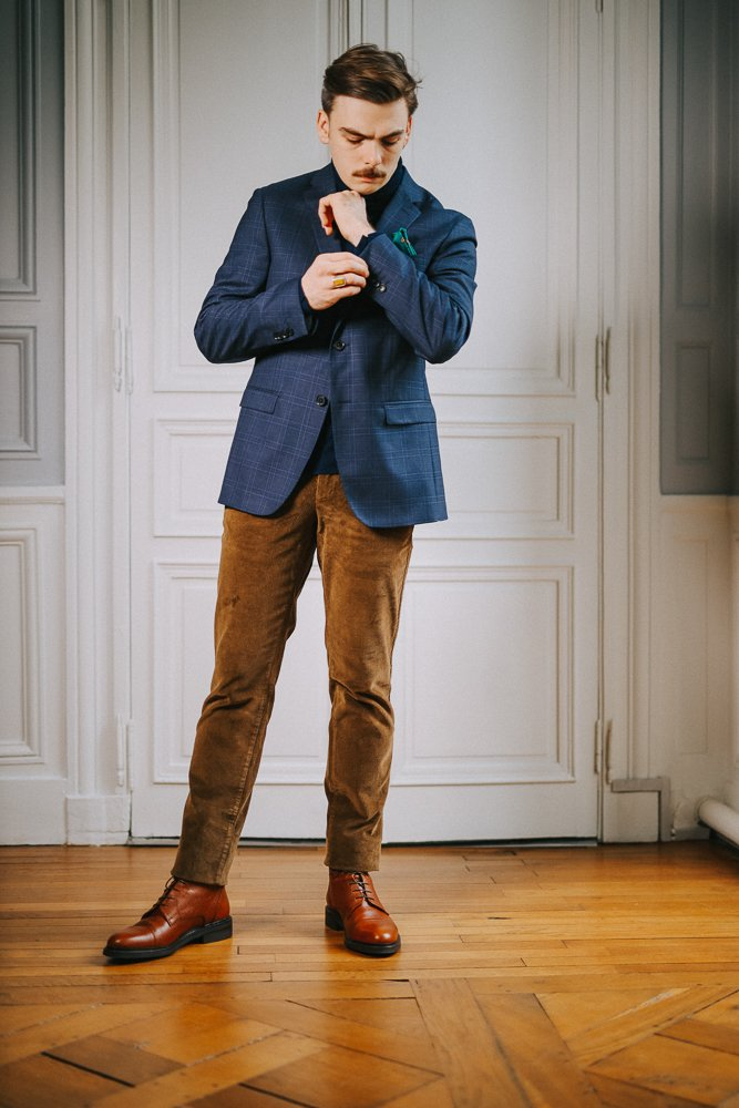 homme - velours - look - chic
