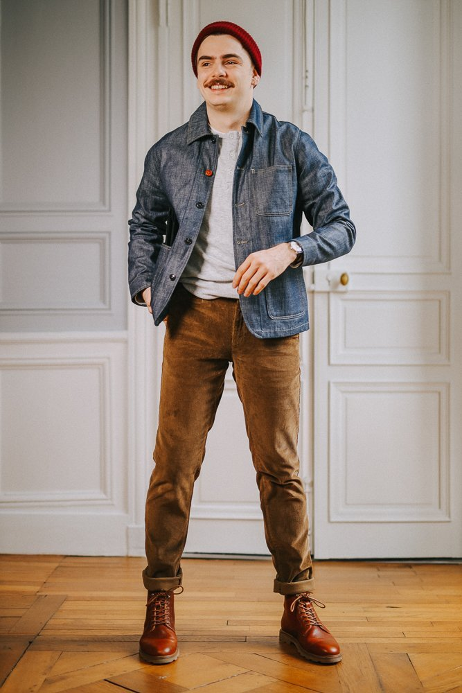 homme - velours - look - workwear