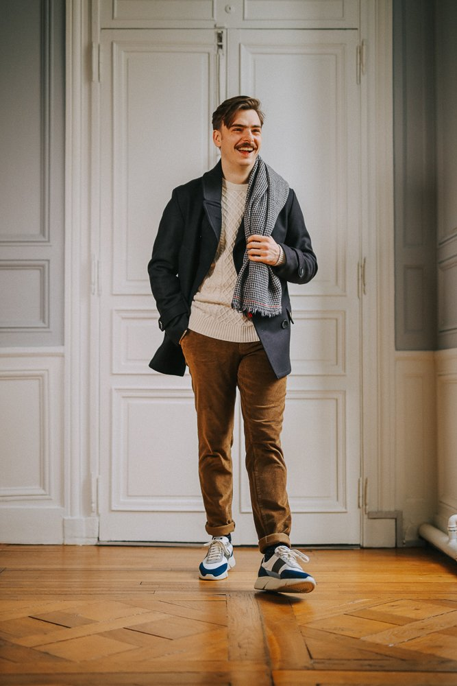 homme - velours - look - casual