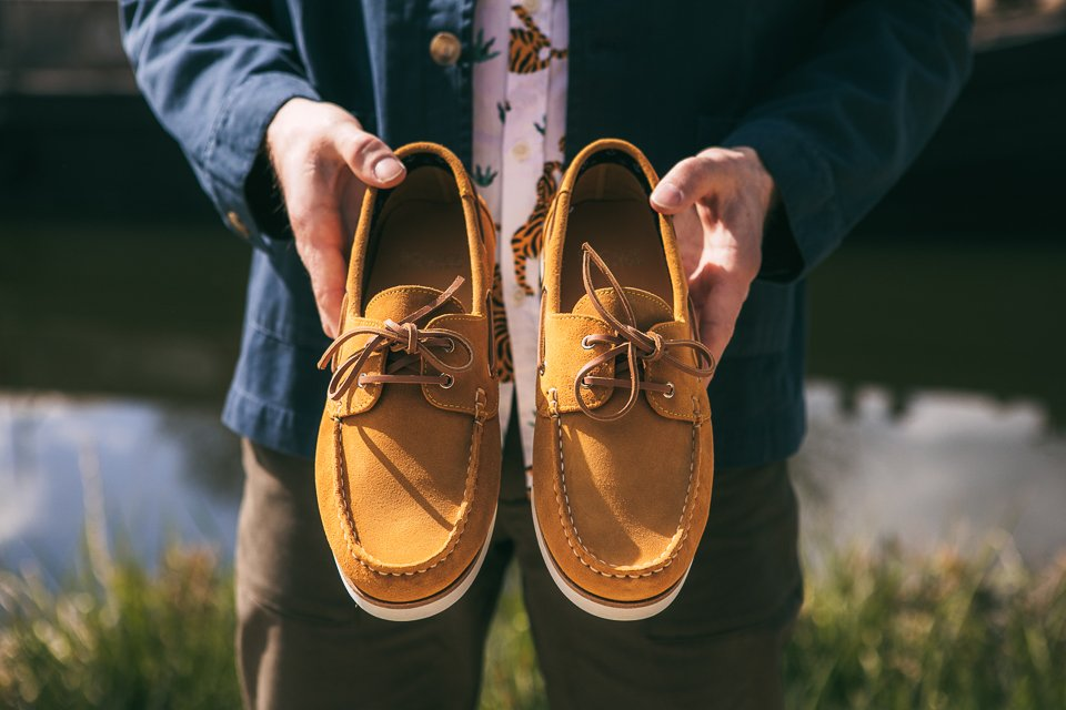 Chaussures bateau homme cuir moutarde