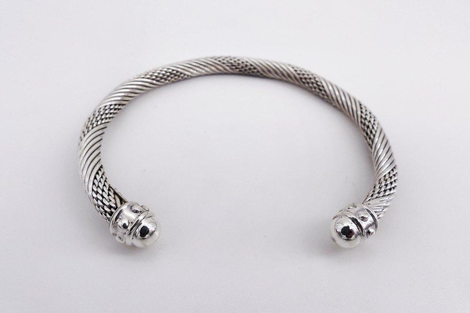 Bracelet homme pierre argent textile