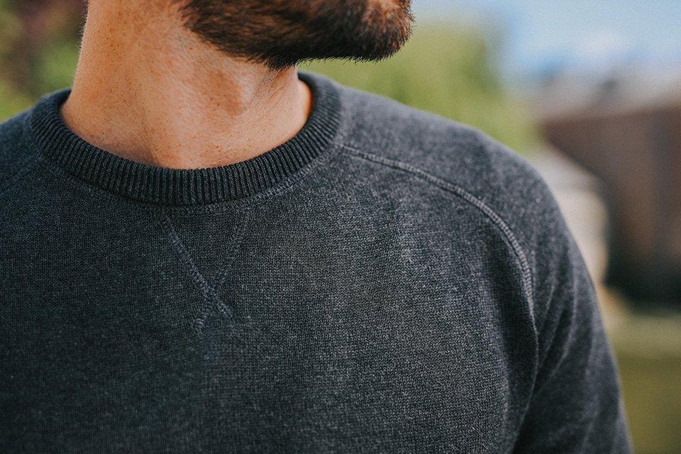 detail sweat coton biologique gris homme paris yorker