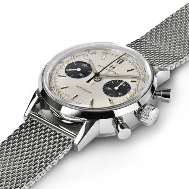 hamilton chrono h bracelet milanais fond blanc