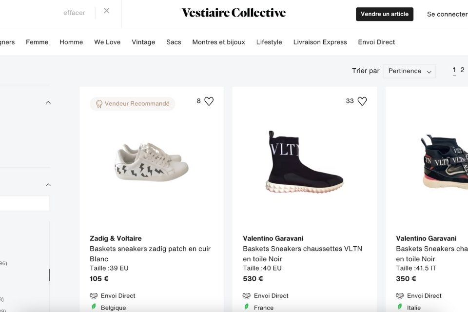 Vestiaire collective site resell sneakers