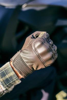 gants cuir moto marron racer stance poing