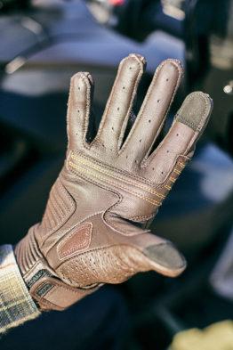 gants cuir moto marron racer stance tactile