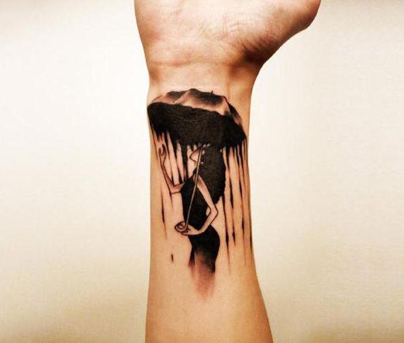 tatouage poignet parapluie