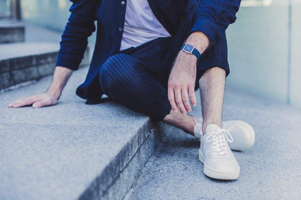 look bleu rayures homme