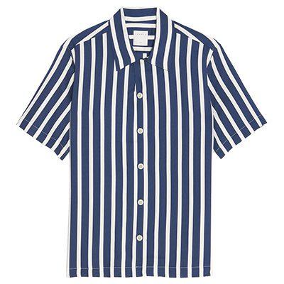 chemisette sandro bleue a rayures