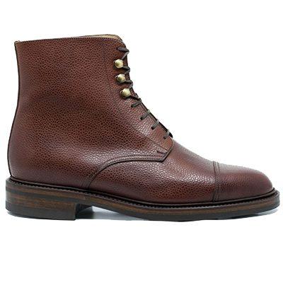 boots en cuir grainé septième largeur
