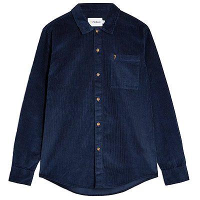 chemise farah velours cotele bleu marine