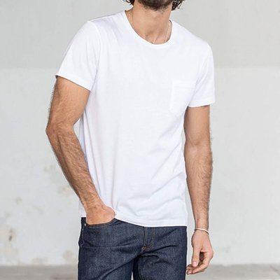 t-shirt à poche blanc drapeau noir