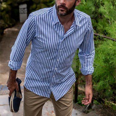 chemise sur-mesure en coton et lin à rayures bleues et blanches
