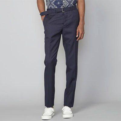 pantalon rayé en laine italienne officine générale