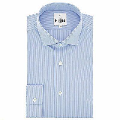 chemise col italien à rayures bleu ciel The Nines