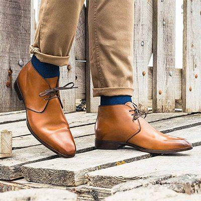 chukka boots en cuir camel in corio