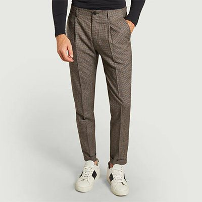 pantalon laine motif pied-de-poule paul smith