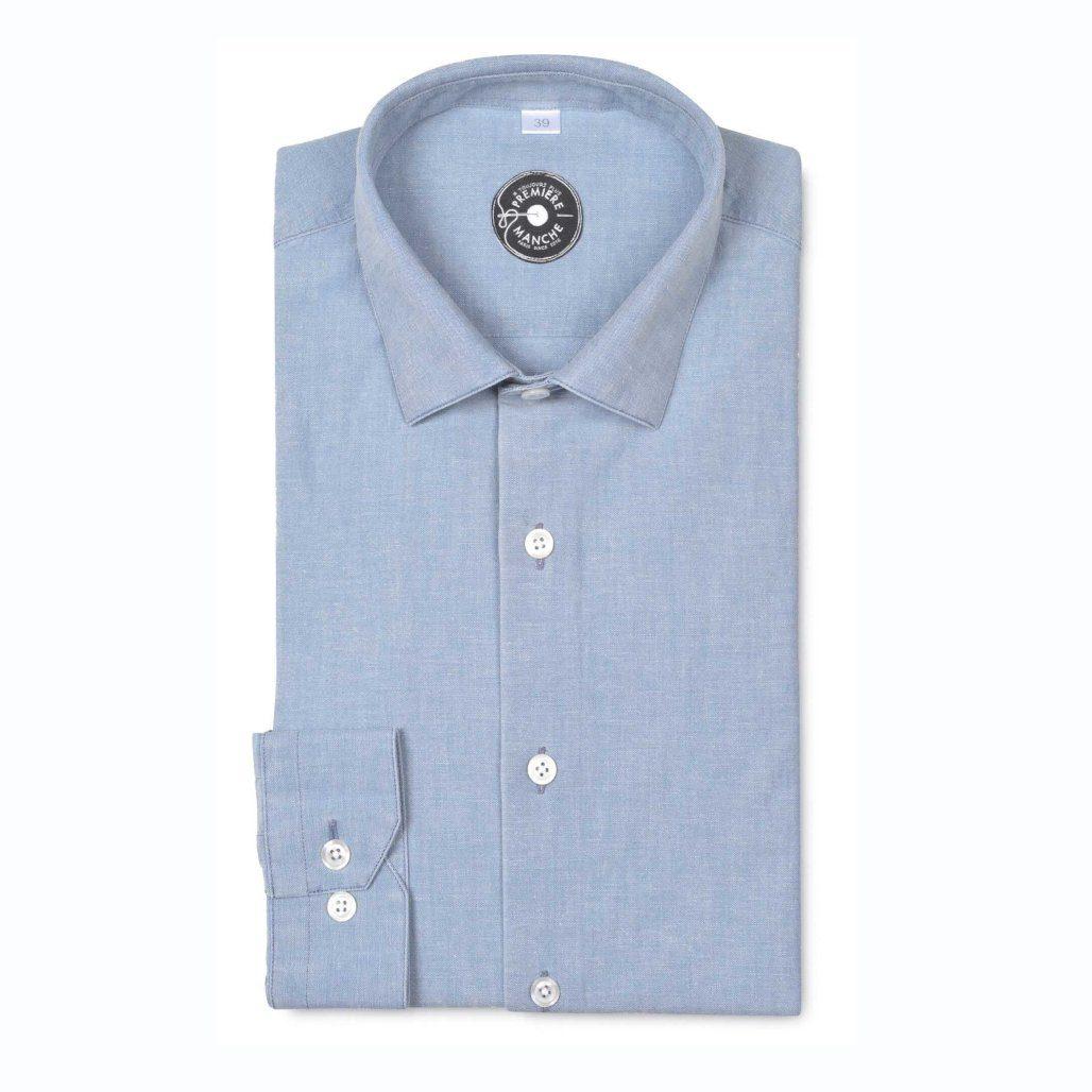 chemise première manche bleu chambray